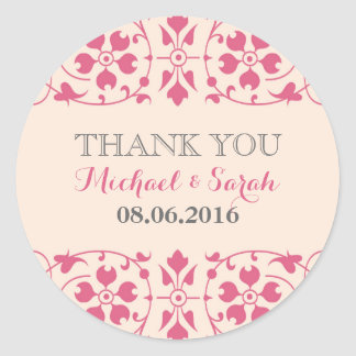 Vintage Floral Thank You Sticker in Soft Pink Round Stickers