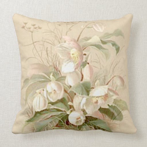 Throw Pillows Vintage Fabric : Vintage Floral Throw Pillow Zazzle