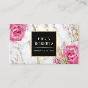 Makeup artist business cards zazzle vintage floral trendy gold marble makeup artist business card colourmoves