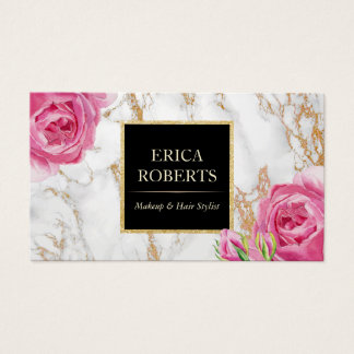 Makeup artist business cards zazzle vintage floral trendy gold marble makeup artist business card reheart Choice Image