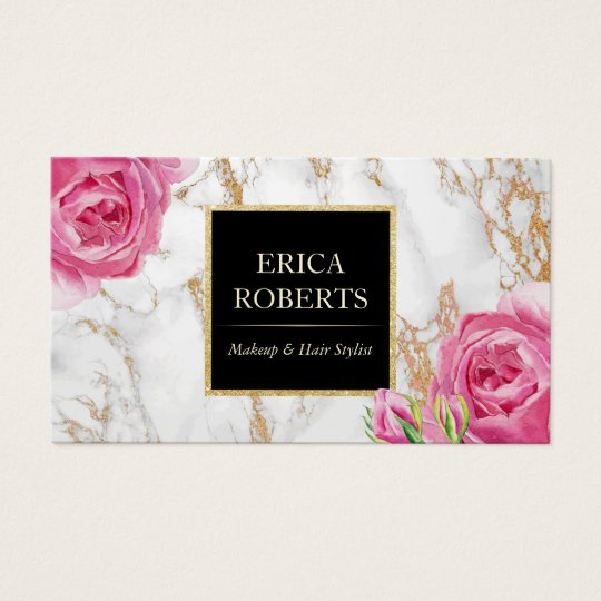 Vintage floral trendy gold marble makeup artist business card vintage floral trendy gold marble makeup artist business card colourmoves