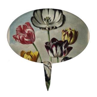 Vintage Floral Tulip Painting Cake Pick