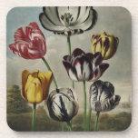 Vintage Floral Tulip Painting Drink Coaster
