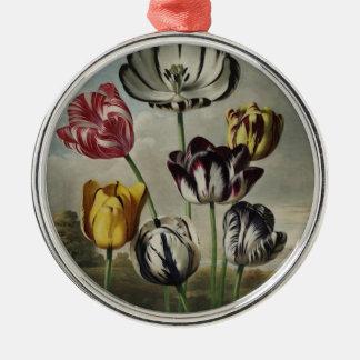 Vintage Floral Tulip Painting Metal Ornament