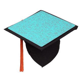 Vintage Floral Turquoise Teal Peacock Graduation Cap Topper