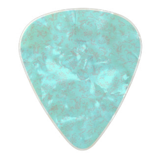 Vintage Floral Turquoise Teal Peacock Pearl Celluloid Guitar Pick