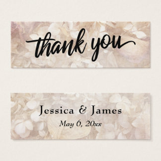 Vintage Floral Typography Thank You Wedding Favor Mini Business Card