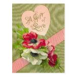 Vintage Floral Valentine Postcard at Zazzle
