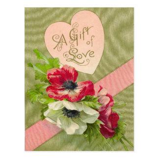 Vintage Floral Valentine Postcard