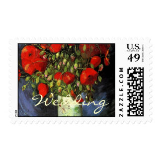Vintage floral Vase with Red Poppies wedding Postage