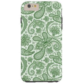 Vintage floral verde y blanco Paisley Funda Para iPhone 6 Plus Tough