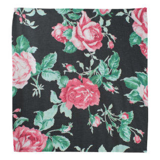 Vintage,floral,victorian,black,red,shabby chic bandana