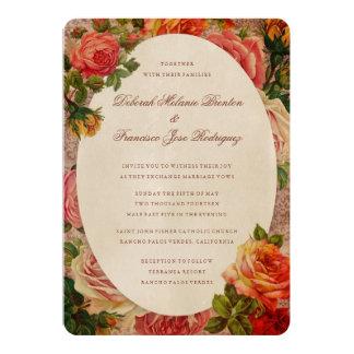 Vintage Floral Victorian Roses Wedding Invitations