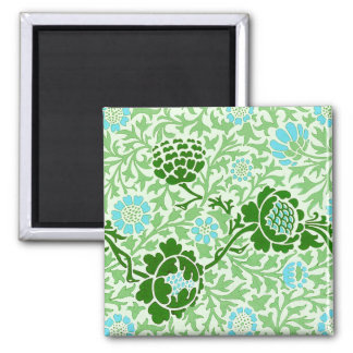 Vintage Floral Vine Morris Wallpaper 2 Inch Square Magnet