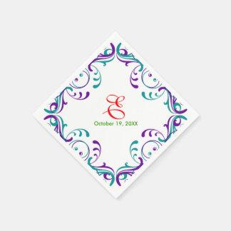 Vintage Floral Violet Blue Wedding Birthday Paper Napkin