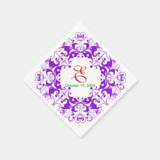 Vintage Floral Violet Wedding Birthday Paper Napkin