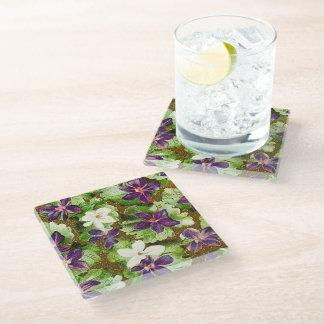 Vintage Floral Violets Glass Coaster
