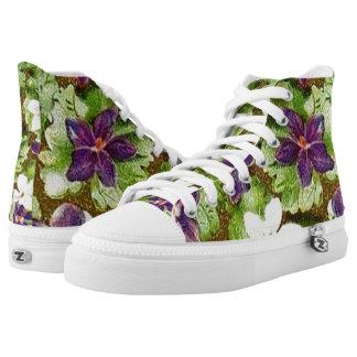 Vintage Floral Violets Printed Shoes