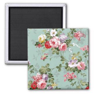 Vintage Floral Wallpaper 2 Inch Square Magnet