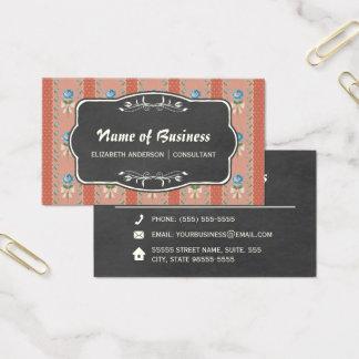 Vintage Floral Wallpaper Blue Roses and Chalkboard Business Card