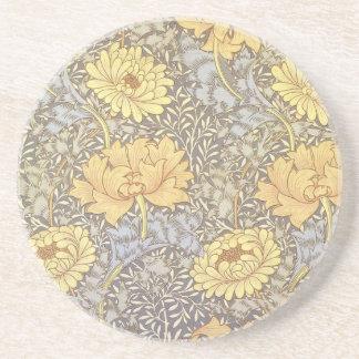 Vintage Floral Wallpaper Chrysanthemums Drink Coaster