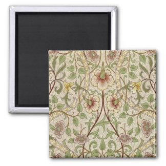 Vintage Floral Wallpaper Design - Daffodil 2 Inch Square Magnet