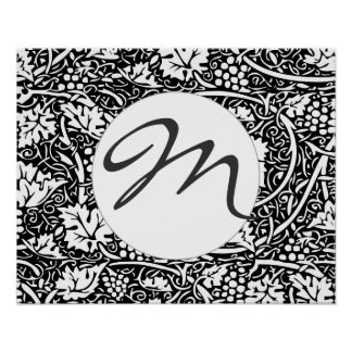 Vintage Floral Wallpaper Grape Pattern Monogram Poster