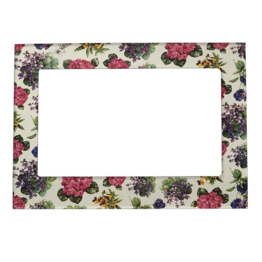 Vintage Floral Wallpaper Magnetic Photo Frame