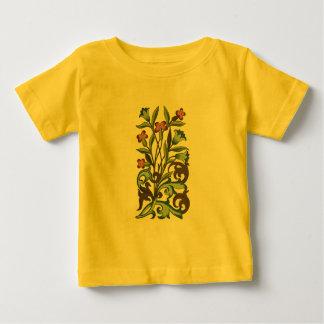 Vintage Floral wallpaper pattern designer yellow Baby T-Shirt