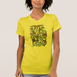 Vintage Floral wallpaper pattern designer yellow T-Shirt