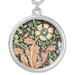 Vintage Floral Wallpaper Round Pendant Necklace
