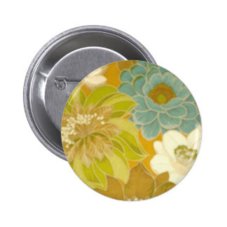 Vintage Floral Wallpaper, Turquoise Green & Brown Button