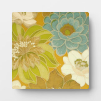 Vintage Floral Wallpaper, Turquoise Green & Brown Plaque