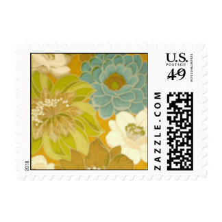 Vintage Floral Wallpaper, Turquoise Green & Brown Stamps