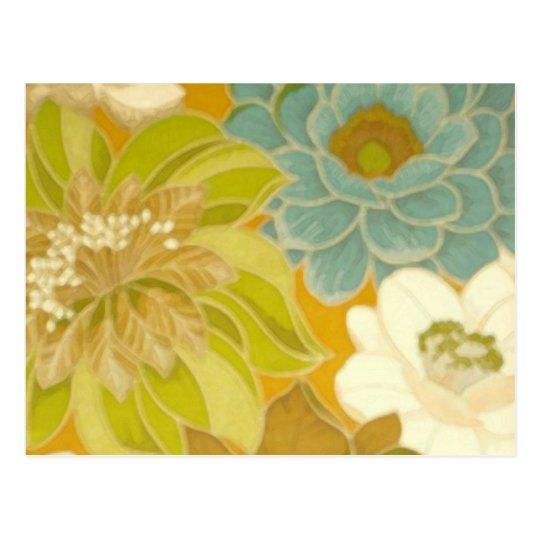 Vintage Floral Wallpaper, Turquoise Green & Brown Postcard