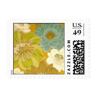 Vintage Floral Wallpaper, Turquoise Green & Brown Stamp