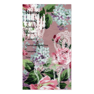 Vintage Floral Wallpaper With Chair and Chandelier Double-Sided Standard Business Cards (Pack Of 100)