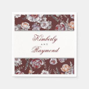 vintage floral watercolor burgundy red paper napkin