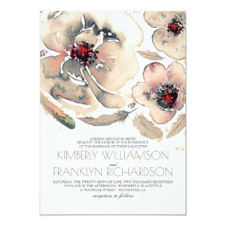 Vintage Floral Watercolor Ivory Cream Fall Wedding Card