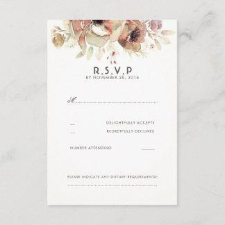 Vintage Floral Watercolor Wedding RSVP Cards