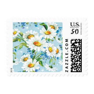 Vintage Floral Watercolor White Daisy Flowers Blue Postage