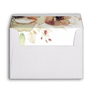 Vintage Floral Watercolors Elegant Fall Envelope