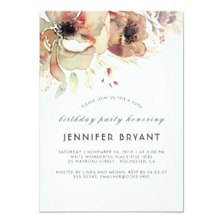 Vintage Floral Watercolors Fall Birthday Party Card