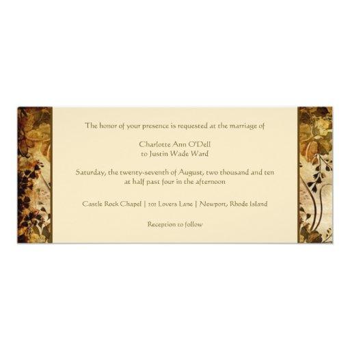 vintage floral wedding 4x9.25 paper invitation card