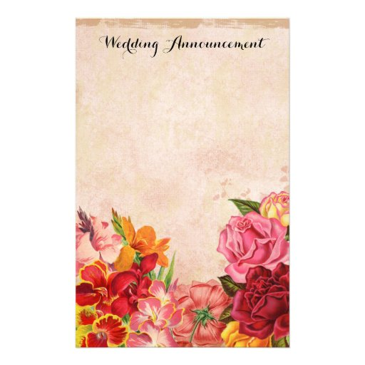 Vintage Floral Wedding Announcement Scrapbook Stationery