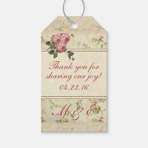 Vintage Wedding Gift Tags : Vintage Floral Wedding Guest Favor Gift Tags Zazzle