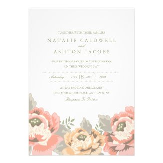 wedding invitation and stationery for a peach and pink vintage floral themed wedding