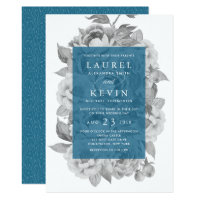 Vintage Floral Wedding Invitation | Cerulean