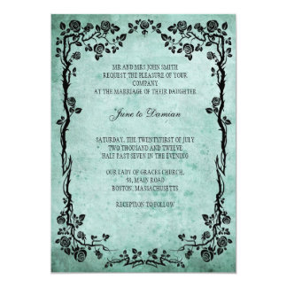 Vintage Floral Wedding Invitation in Blue