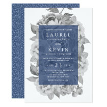 Vintage Floral Wedding Invitation | Navy